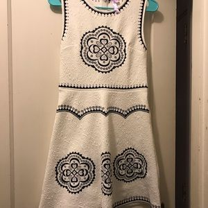 White with navy detail fit and flare dress